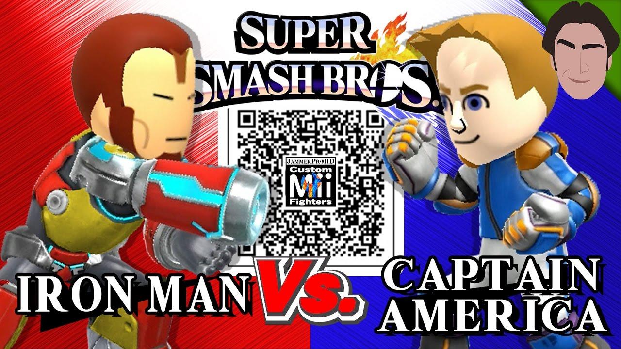Iron Man Vs Captain America Custom Mii Fighter Versus Qr Codes For