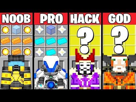 Minecraft Battle: POWERFUL ARMOR CRAFTING CHALLENGE - NOOB vs PRO vs HACKER vs GOD ~ Animation