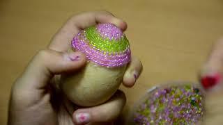 Оплетение яйца бисером. Яйцо из бисера.