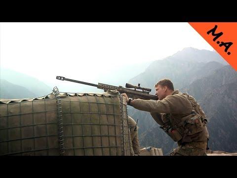 Barrett M82 - 50 Cal Anti Materiel Sniper Rifle in Action.  Barrett M82 107 Sniper Rifle Live Fire