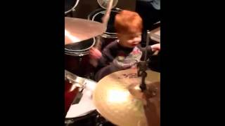 asher 1st drum solo 3 24 13 1 year old baby drummer
