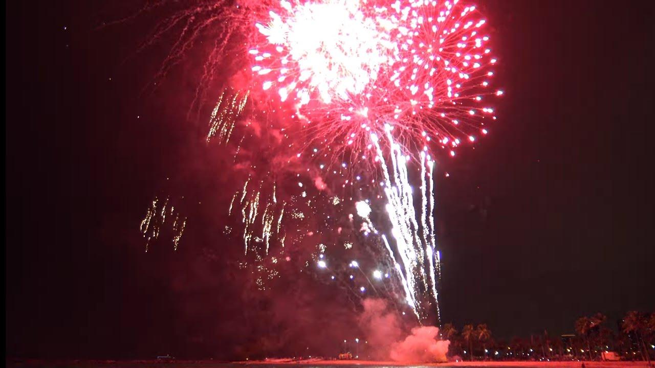 Waikiki Fireworks In 4k Hawaii Youtube