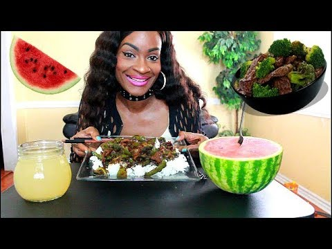 MUKBANG: CHINESE TAKEOUT HOMEMADE BEEF & BROCCOLI WITH WATERMELON! COOK WITH ME!