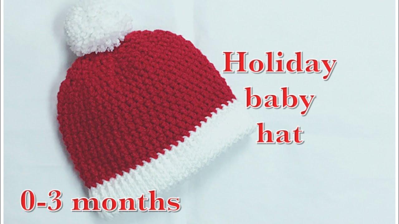 685e26e80 Easy Crochet Santa style baby hat 0-3 months #94