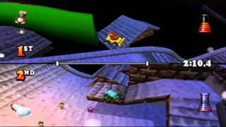 Muppet Race Mania 100% Part 142 - Rooftops - 2 Player Stunt Race