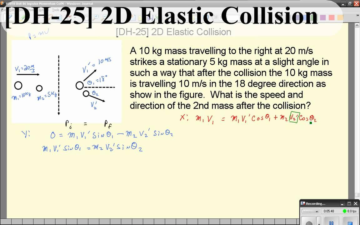Dh 25 2d Elastic Collision Youtube