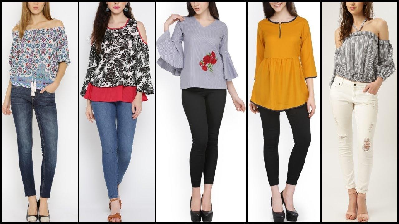 Latest Causal wear tops Designs   Kurti   Shirt with jeans  d5b67c706
