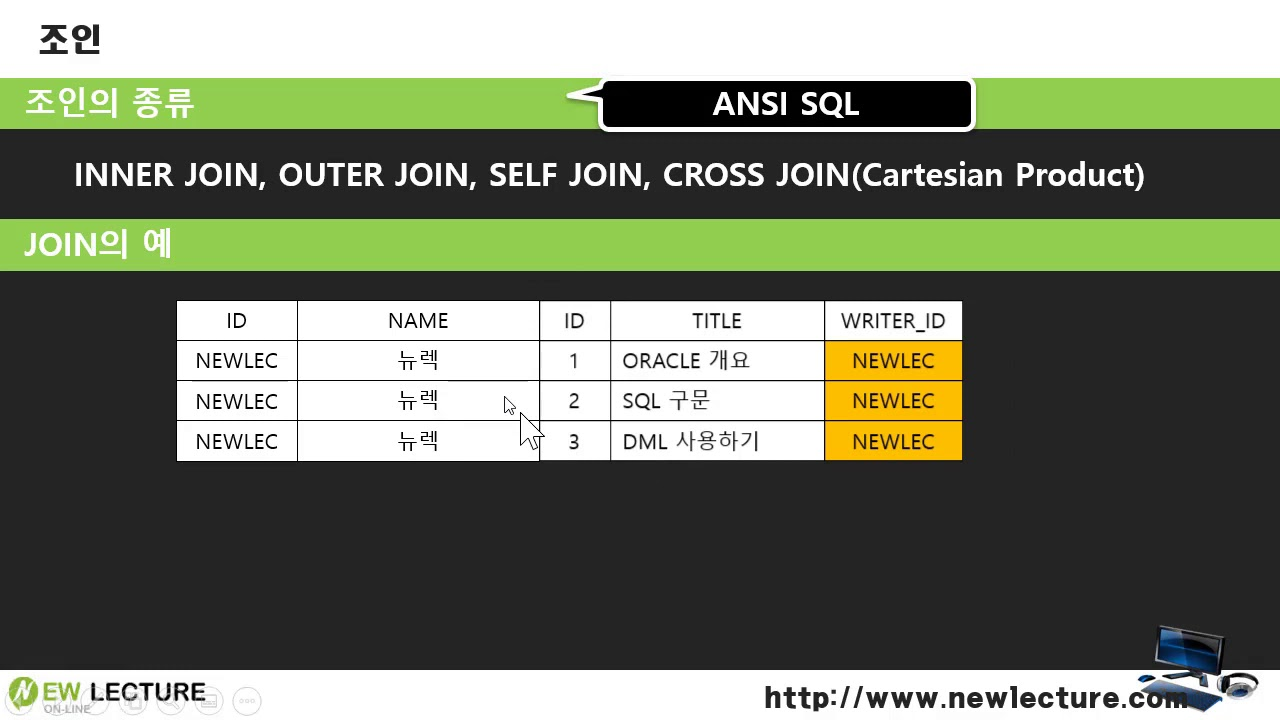 오라클 데이터베이스 SQL 강의 34강 - INNER 조인(JOIN) - YouTube