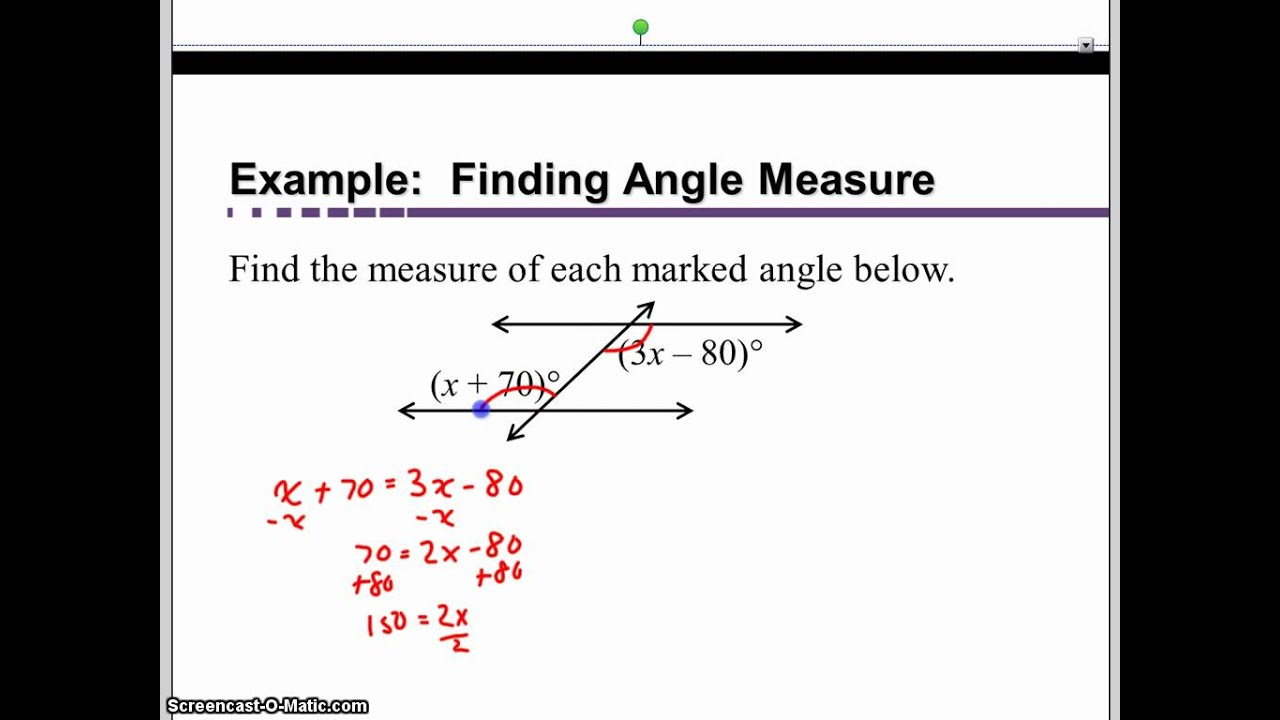 Measure Of An Angle : Find the measure of each marked angle youtube