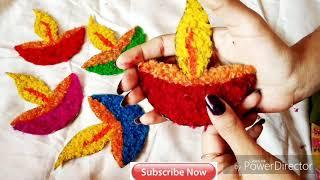 DIY Diwali Decoration using Cardboard nd Wools   Diya Designs Door Hanging   #tulikajagga