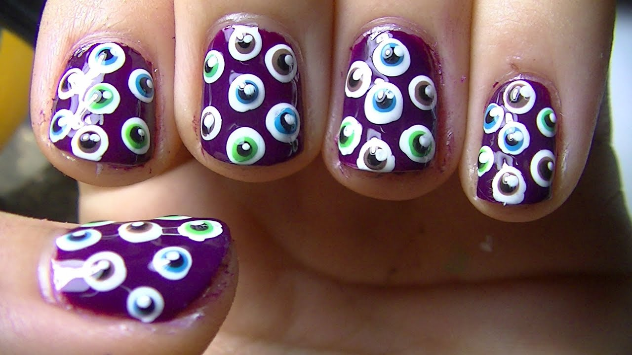 Eyeball Nail Art [Halloween Nails] - YouTube