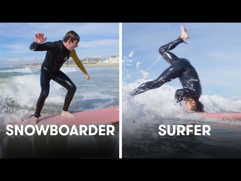 Snowboarders Try To Keep Up With Surfers | SELF