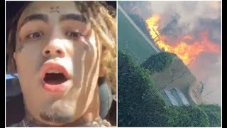 Lil pump Records House Catching Fire California Fires Calabasas