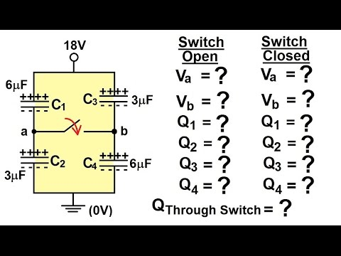 Physics - E&M: Capacitors & Capacitance (29 of 37) V=? C=? in DC Circuit  with Switch