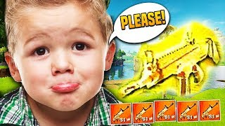 ANGRY KID BEGS FOR GOLD SCAR ON FORTNITE! (Funny Fortnite Trolling)