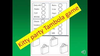2018 || Grocery shopping Tambola or housie game for kitty party // window shopping kitty party game
