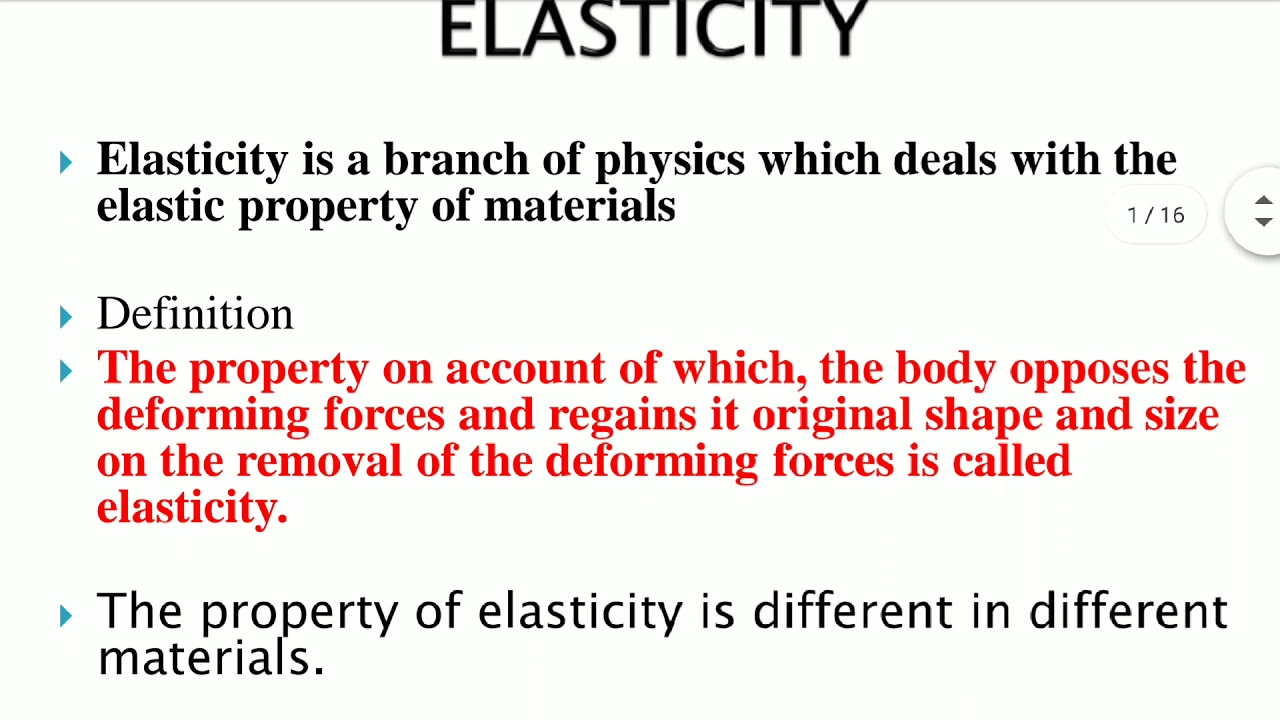 Engineering Physics R17 Unit 1 Lecture 2 Elasticity Stress Strain Hooke S Law Youtube