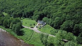 Fly down from Falls - Big Intervale Fishing Lodge, Big Intervale, NS - Ceilidh Aerial Photography
