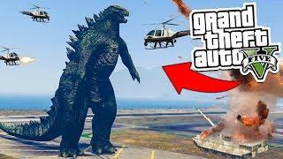 GTA 5: Can We TAKE ON GODZILLA!?!? 🐊🙀💥 (GTA 5 Mod)