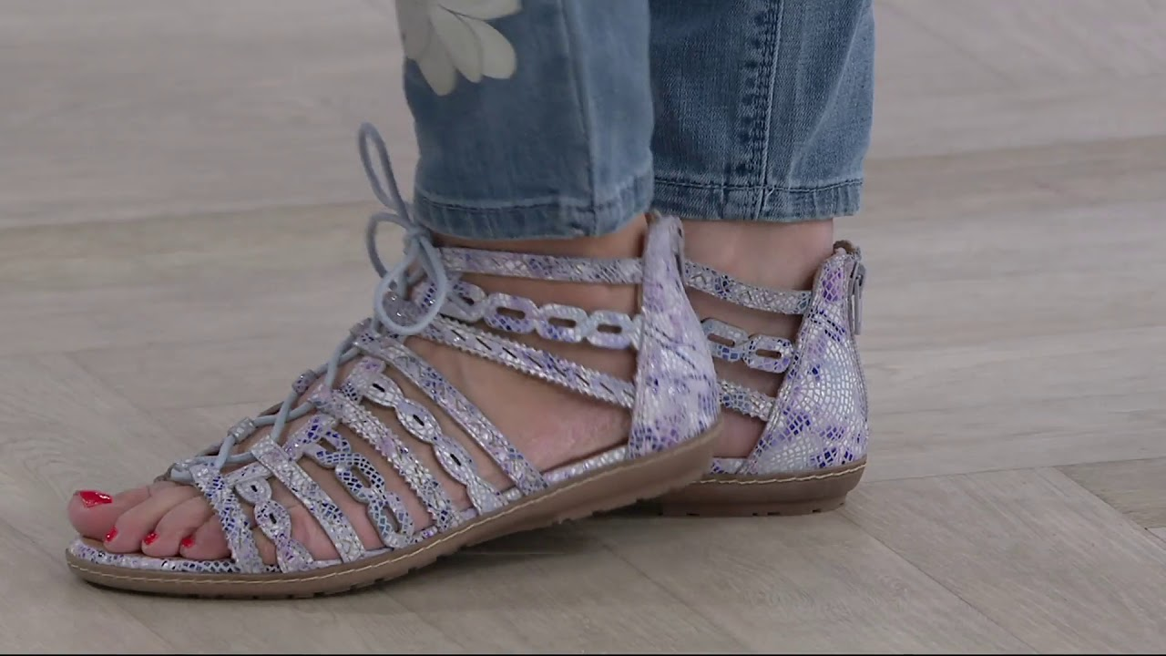 b855ce6be3dc Earth Leather or Suede Lace Up Gladiator Sandals - Tidal on QVC by QVCtv