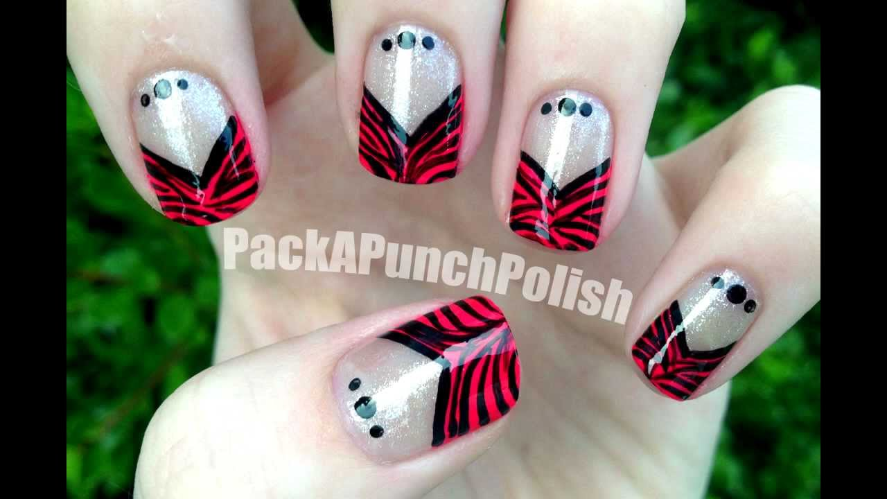 Zebra print v shape french tip nail art tutorial youtube prinsesfo Images