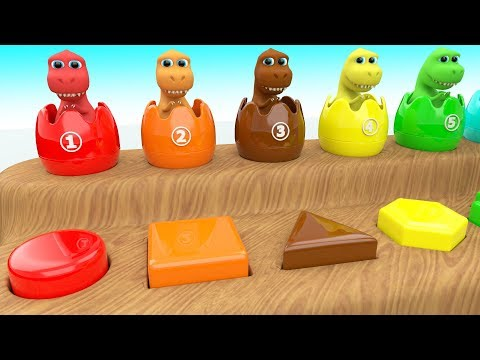 Learning Shapes & Colors with Dinosaur Cartoon Color Surprise Eggs 3D Kids Toddler Educational