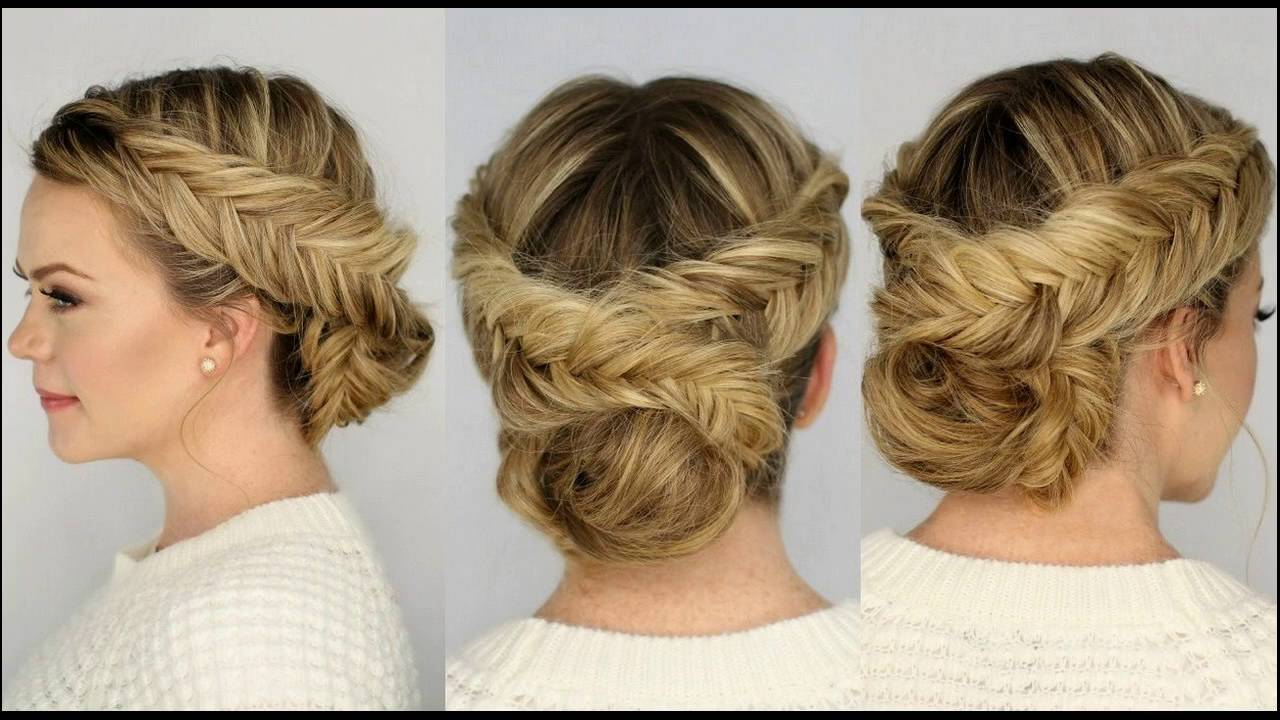two braided updo hairstyle for medium hair suits best occasions