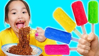 Ly Eats Noodles And Play Game Finger Family Color Song | 동요와 아이 노래 | 어린이 교육  | Phong Ly Studio