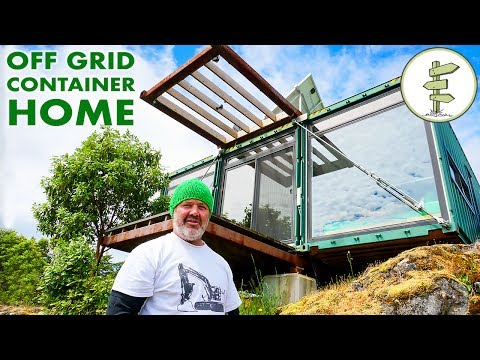 Man Builds Stunning Off Grid Shipping Container Home on Mountain Top