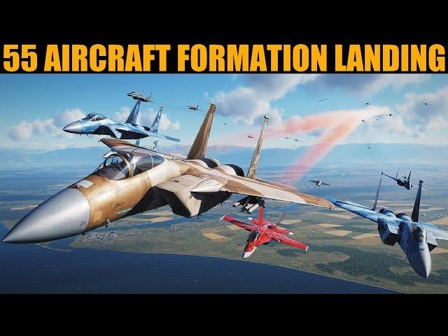 *WORLD FIRST* 50+ Aircraft Formation Flight & Landing   DCS WORLD