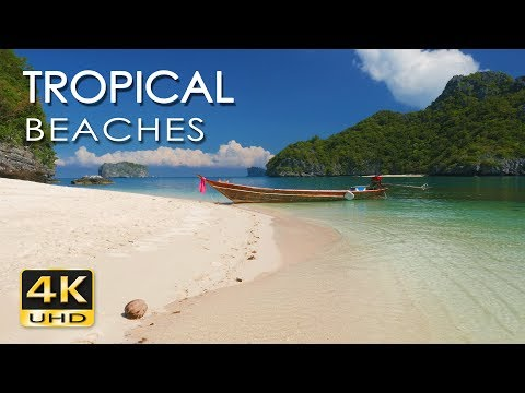 4K Tropical Beaches  - Thailand - Relaxing Sea/ Ocean Sounds - Sunrise & Sunset - Ultra HD Video