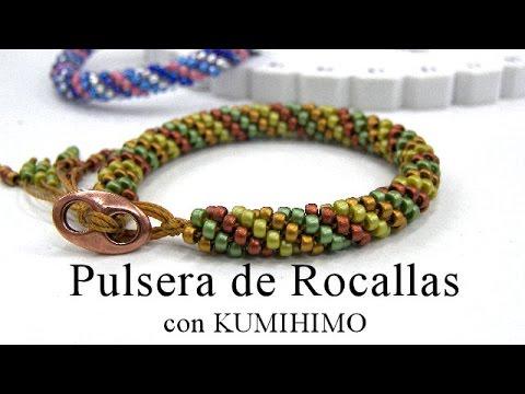 46883f0bd70b Abalorios - Pulsera de Rocalla con Kumihimo - YouTube