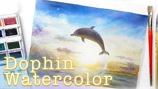 Dolphin Watercolor Speed Painting 水彩畫海豚 手繪插画