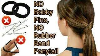 TRICK:: ~NO RUBBER BAND, NO BOBBY PINS~ PONYTAIL || PERFECT PONYTAIL MAKING | Stylopedia
