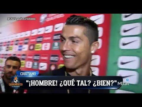 SALUDO ESPECIAL de Cristiano Ronaldo a Edu Aguirre entre la MULTITUD de la zona mixta en Lisboa