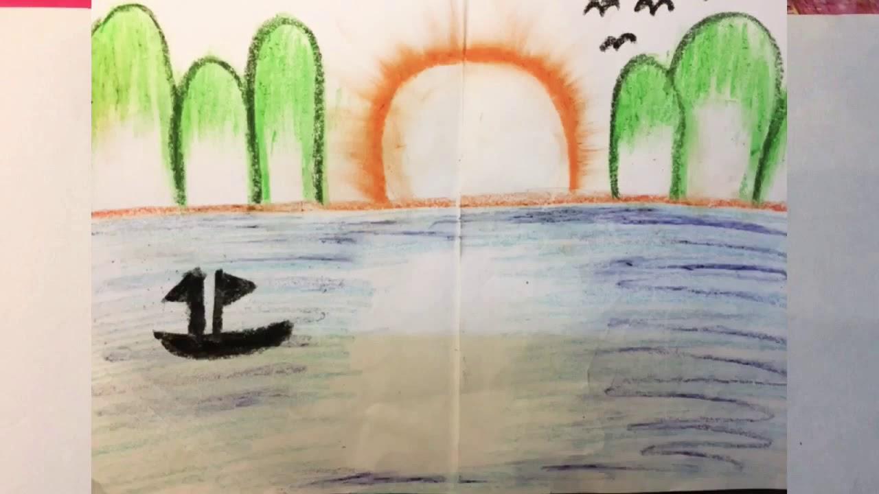 Cách vẽ cảnh biển đẹp , đơn giản cho người mới bắt đầu vẽ