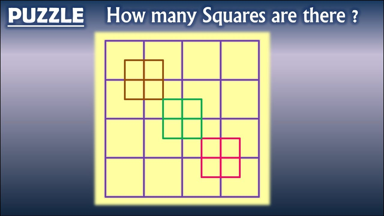 How Many Squares Puzzle With Best Answer A Beautiful Mind Blowing Puzzle For Genius Cerebrum Youtube Mind Puzzles Difficult Puzzles Mind Games Puzzles