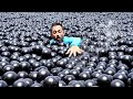 Can You Swim in Shade Balls?: I bought 10,000 shade balls and tried to swim in them. They appear to act like a non-Newtonian fluid: rigid under high shear stress, but they flow like a liquid under low shear. Get a signed shade ball by supporting Veritasium: https://ve42.co/patreon  Receiving a shade ball: 1. Support Veritasium on any Patreon tier and enter your address https://ve42.co/patreon 2. In about a month I will send out signed shade balls 3. I will cover all shipping costs but if things get really crazy I will prioritize existing Patreon supporters and higher tiers  My sense was that swimming in shade balls would be difficult but still doable. This was roughly true for the single layer of shade balls. The shade balls slide past each other so they act like a liquid, albeit a viscous one owing to their significant inertia. It's much more intense exercise and it's also annoying to be bombarded with shade balls on all sides of your body, particularly your head. With multi-layer shade balls (as exists on much of LA reservoir) things get significantly more difficult. The balls bunch together and when you try to move through them quickly, they become more rigid, providing significant resistance to motion. This has the benefit that you can lie on them and as long as they stay trapped under you, you can float on them. But a little bit of motion causes them to move around and you sink through quickly.  Huge thanks to: Jordan Schnabel and Cristian Carretero for filming and swimming and providing lifeguard services. Raquel Nuno for filming and putting up with me.  Special thanks to Patreon supporters: Donal Botkin, Michael Krugman, Ron Neal, Stan Presolski, Terrance Shepherd, Penward Rhyme and everyone who provided feedback on an early draft of this video.  Music from https://epidemicsound.com