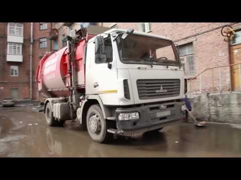 Мусоровоз с боковой загрузкой - процесс уборки мусора