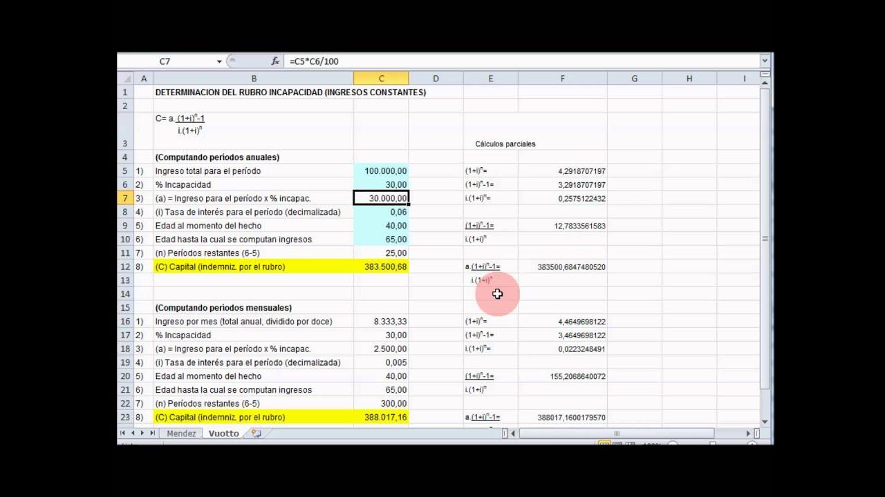Cálculo de indemnizaciones según fórmulas \