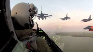 Video from pilot view in cockpit when F-16 fighter jets fly over Amsterdam to salute the King