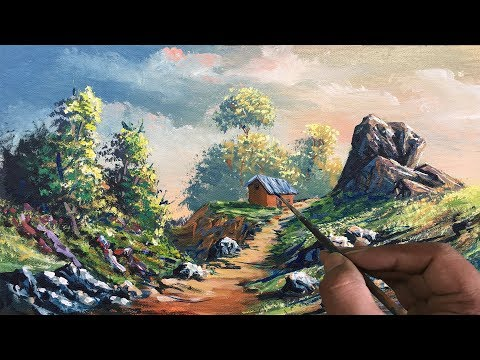How To Paint Realistic Golden Landscape Painting In Acrylic | Beautiful Scenery Painting Tutorial