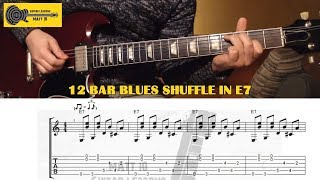 Blues GUITAR LESSON with TAB - Twelve Bar Blues Shuffle in E & Sixths Intervals