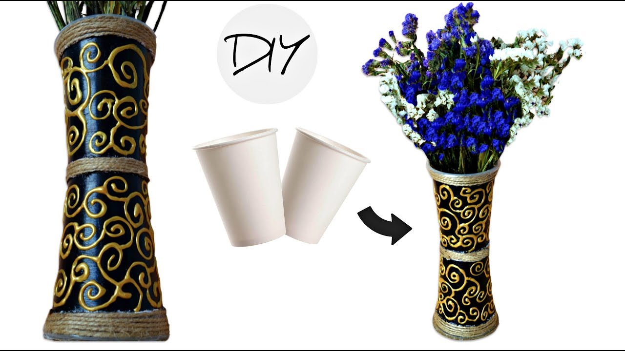 Diy Flower Vase From Disposable Plastic Glass Making Flower Pot At Home Youtube
