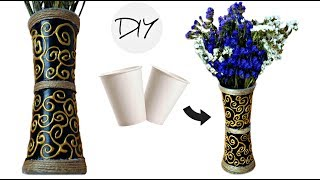 DIY flower vase from disposable plastic glass | Making flower pot at home