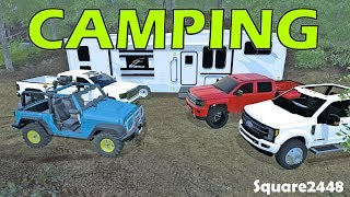 Farming Simulator 17 - Camping With Expensive Trucks, Jeep & Toy Hauler