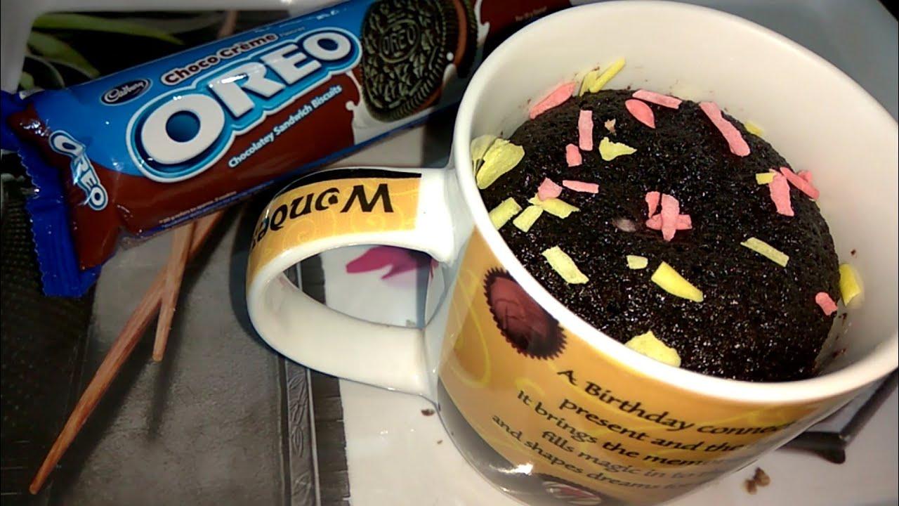 oreo mug cake without microwave oven chocolate oreo mug cake in kadai eggless without eno