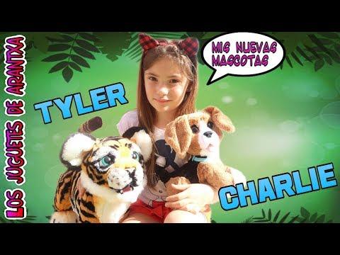 Un dia con mis nuevas mascotas Tyler, el tigre juguetón y Charlie, el perro parlanchin + SORTEO