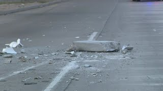 Falling concrete caused freeway crash
