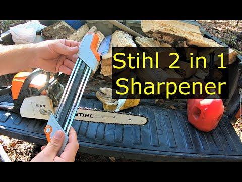 #45 Stihl 2 in 1 sharpener, Stihl MS170, sharpening a chainsaw.